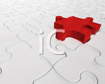 Royalty Free Clipart Image of a Jigsaw Puzzle With a Red Piece