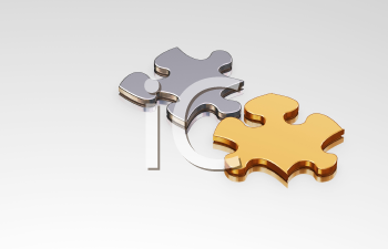 Royalty Free Clipart Image of a Silver and a Gold Puzzle Piece