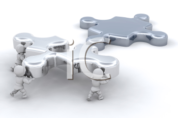 Royalty Free Clipart Image of People Moving a Puzzle Piece
