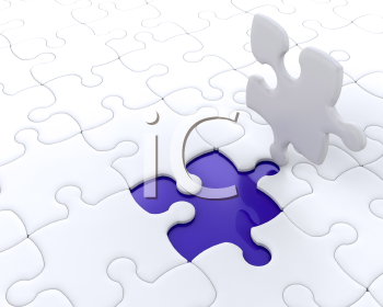 Royalty Free Clipart Image of a Puzzle With a Piece Out