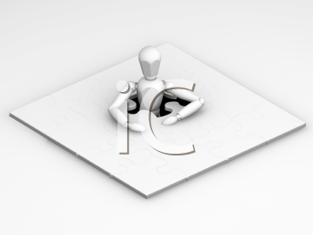 Royalty Free Clipart Image of a Person in a Puzzle