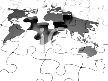 Royalty Free Clipart Image of a Map Puzzle