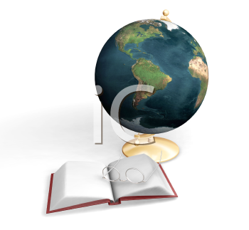 Royalty Free Clipart Image of a Globe and Book With Glasses on Top