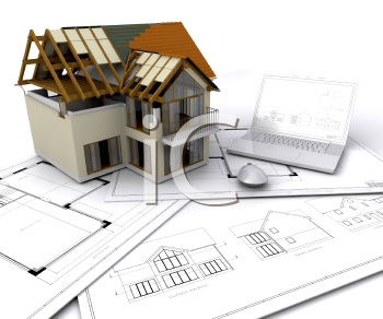 Royalty Free Clipart Image of a House Under Construction Sitting on Blueprints