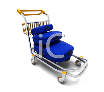 Royalty Free Clipart Image of Suitcases on a Cart