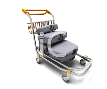 Royalty Free Clipart Image of Luggage on a Cart