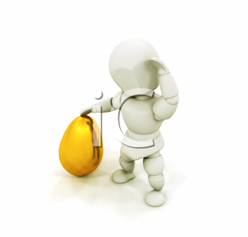 Royalty Free Clipart Image of a 3D Guy With a Golden Egg