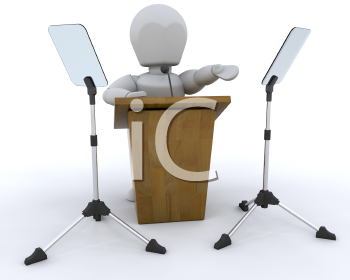 Royalty Free Clipart Image of a Person at a Lectern