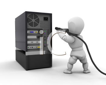 Royalty Free Clipart Image of a 3D Person Plugging a Cable Into a Computer