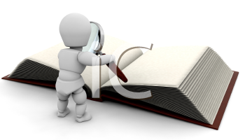 Royalty Free Clipart Image of a 3D Person Looking at a Book Through a Magnifying Glass