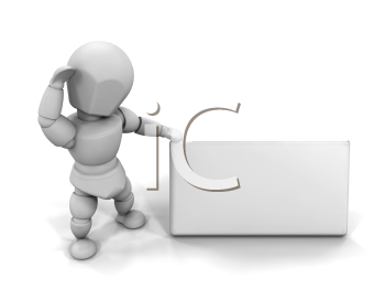 Royalty Free Clipart Image of a Guy With a Blank Sign