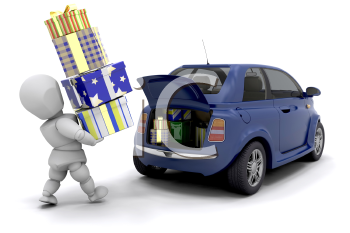 Royalty Free Clipart Image of a Person Carrying Gifts to a Car