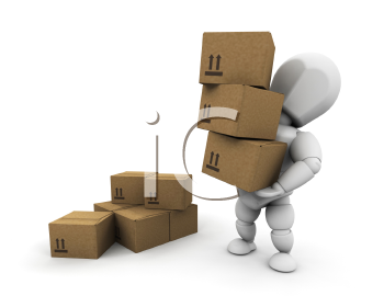 Royalty Free Clipart Image of a Person Carrying a Stack of Boxes