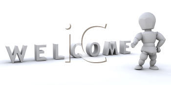 Royalty Free Clipart Image of a Person at a Welcome Sign