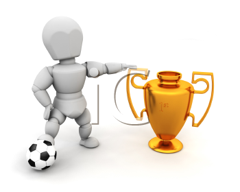 Royalty Free Clipart Image of a Soccer Player With a Cup