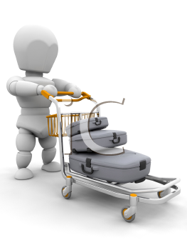 Royalty Free Clipart Image of a Trolley With Suitcases