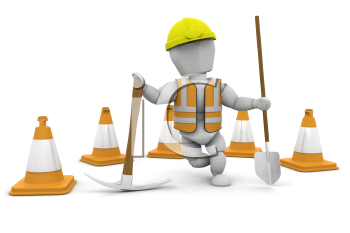 Royalty Free Clipart Image of a Construction Worker With a Spade and Pickax