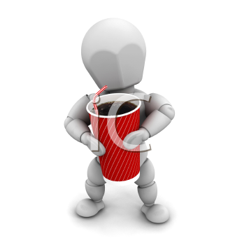 Royalty Free Clipart Image of a Person Holding a Soft Drink