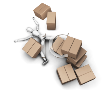 Royalty Free Clipart Image of a Stack of Boxes Falling on a Man