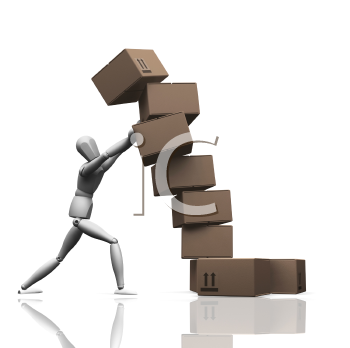 Royalty Free Clipart Image of a Person Stacking Boxes