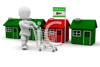 Royalty Free Clipart Image of a Person Pushing a Shopping Cart in Front of a Row of Houses
