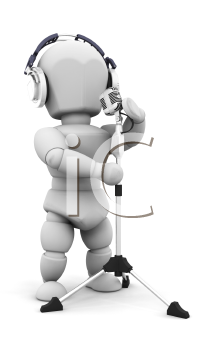 Royalty Free Clipart Image of a Person Wearing Headphones Singing Into a Microphone