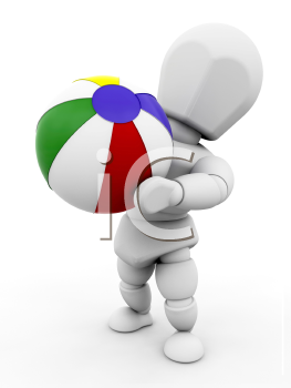 Royalty Free Clipart Image of a Person Throwing a Beach Ball