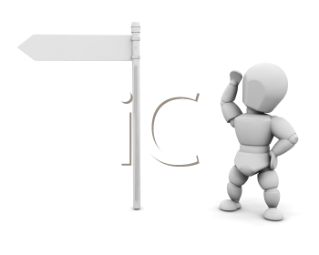 Royalty Free Clipart Image of a Guy Looking at a Blank Signpost