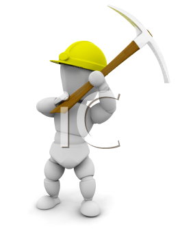 Royalty Free Clipart Image of a Guy With a Pickax