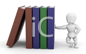 Royalty Free Clipart Image of a Person Leaning on Books