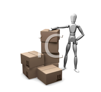 Royalty Free Clipart Image of a Man With a Stack of Boxes