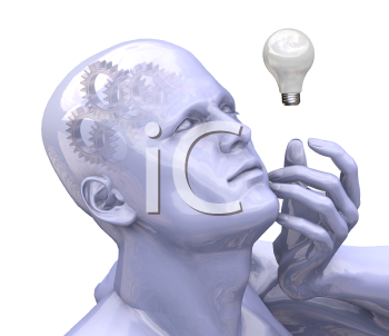 Royalty Free Clipart Image of a Man With Gears in His Head and a Lightbulb Beside Hime