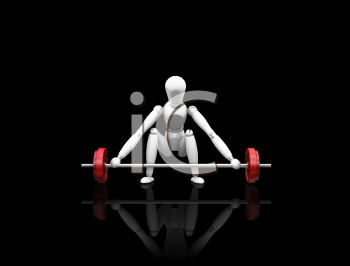 Royalty Free Clipart Image of a 3D Man Lifting Weights