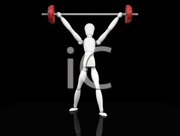 Royalty Free Clipart Image of a Guy Lifting Weights