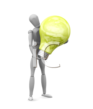 Royalty Free Clipart Image of a Man With a Light Bulb
