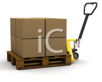 Royalty Free Clipart Image of a Pallet Truck With Boxes