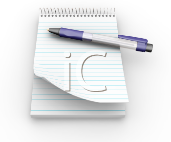 Royalty Free Clipart Image of a Notepad and Pen