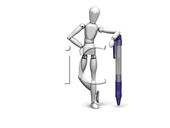 Royalty Free Clipart Image of a Person Leaning on a Pen