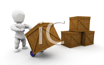 Royalty Free Clipart Image of a Person Stacking Carts