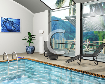 3D render of the interior of a pool house