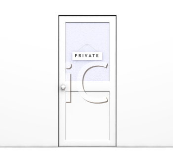 Royalty Free Clipart Image of a Closed Door With Private on It
