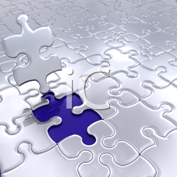 Royalty Free Clipart Image of a Puzzle With One Piece Left To Put In