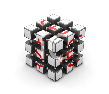 Royalty Free Clipart Image of a Rubik's Cube Concept Puzzle