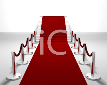 Royalty Free Clipart Image of a Red Carpet Going Upstairs