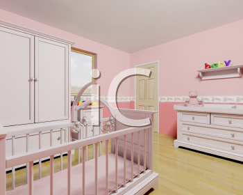 Royalty Free Clipart Image of a Baby Girl's Nursery