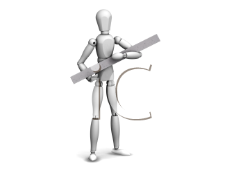 Royalty Free Clipart Image of a Guy With a Ruler
