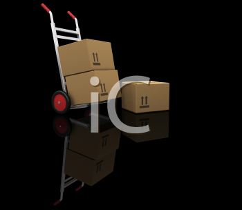 Royalty Free Clipart Image of a Dolly With Boxes