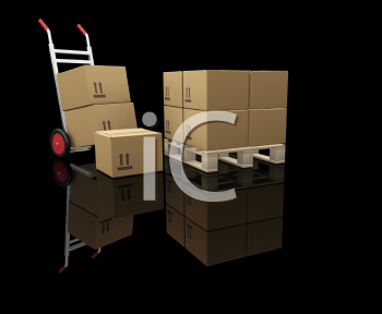 Royalty Free Clipart Image of a Colly and Skid With Boxes