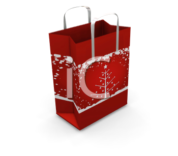 3D render of a Christmas shopping bag