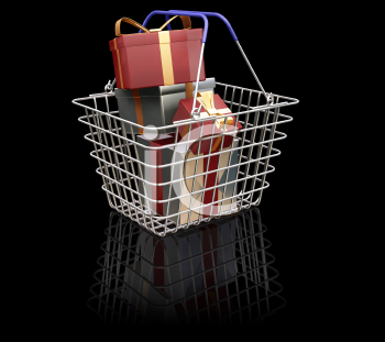 Royalty Free Clipart Image of a Shopping Basket Full of Christmas Presents